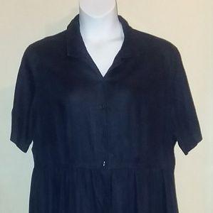Eddie Bauer 100% Navy Linen Dress Sz 2X